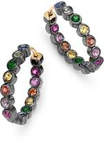 SheBee Blackened Sterling Silver & Multicolor Sapphire Mini Oval Hoop Earrings