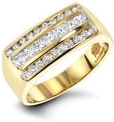 Mens Round & Princess Cut Diamond Ring 1.3ct 14k Gold Unique Wedding Band Ring