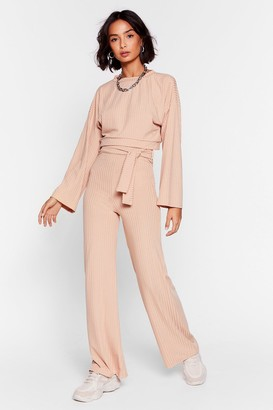 Nasty Gal Womens Rib's Time to Chill Top and Wide-Leg Trousers Set - Beige - S/M