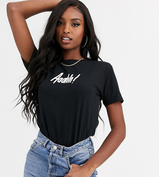 Asos Tall DESIGN Tall Halloween t-shirt with glow in the dark ahhh print in organic cotton