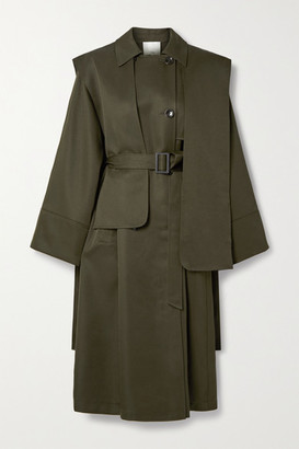 Tibi Layered Double-breasted Woven Trench Coat - Army green