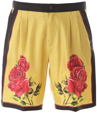 Dolce & Gabbana Rose Print Bermuda Shorts