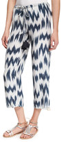 Figue Goa Printed Silk Pants, Navy