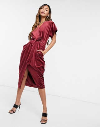 Closet London kimono sleeve velvet midi dress with wrap tie in wine red