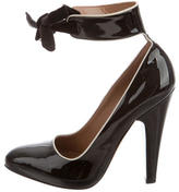 Alaia Patent Leather Ankle Strap Pumps