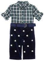 Ralph Lauren Infant Boys' Poplin Plaid Shirt, Embroidered Corduroy Pants & Belt Set - Sizes 3-24 Months