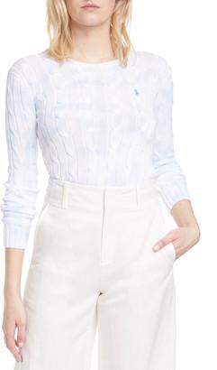 Polo Ralph Lauren Pastel Paint Splatter Cotton Cable Sweater