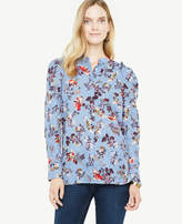 Ann Taylor Opulent Floral Clip Chiffon Pleated Shoulder Blouse