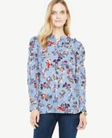 Ann Taylor Petite Opulent Floral Clip Chiffon Pleated Shoulder Blouse
