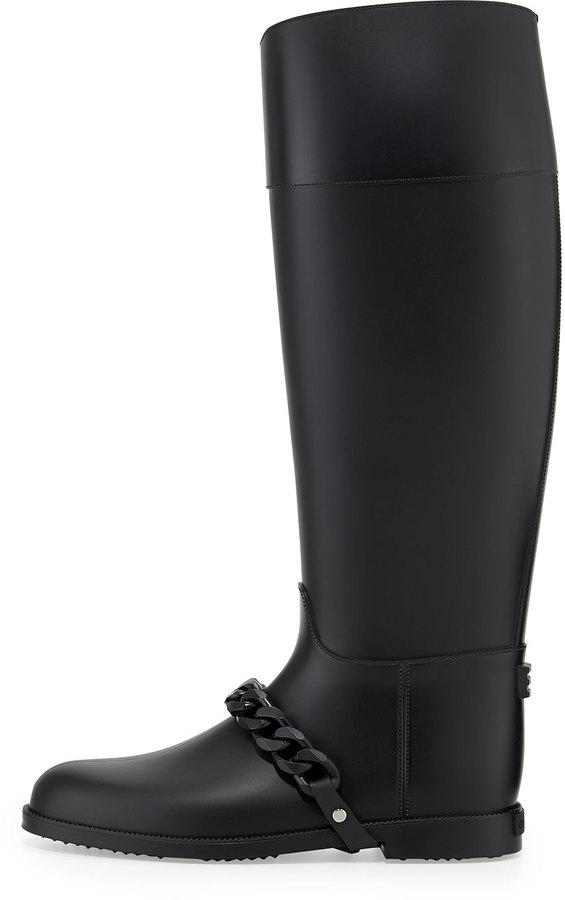 Givenchy Chain-Strap PVC Rain Boot, Black