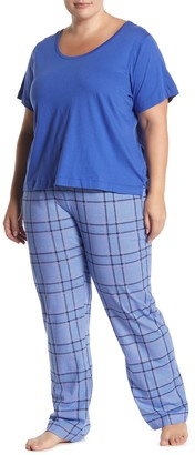 Joe Fresh Scoop T-Shirt & Plaid Pants Pajama 2-Piece Set (Plus Size)