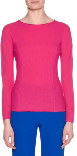 Giorgio Armani Crewneck Long-Sleeve Wool-Cashmere Ribbed Top