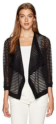 Jones New York Women's Shadow Stripe 3/4 SLV Drape FRNT Cardi