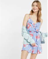 Express Large Floral Print Ruffle Surplice Dress