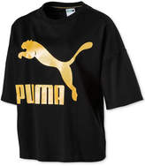 Puma Glam Cotton Relaxed Metallic-Logo T-Shirt, Macy's Exclusive Style