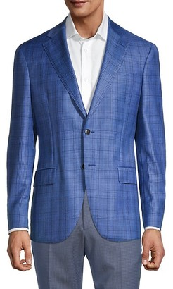Lubiam Standard-Fit Plaid Virgin Wool Jacket