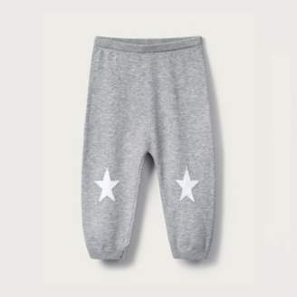 The White Company Star Knitted Leggings, Grey, 12-18mths