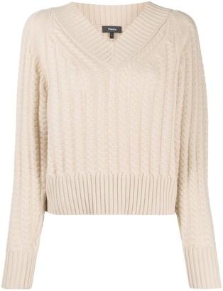 Theory V-neck cashmere knit jumper