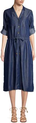 Donna Karan Roll-Tab Sleeve Button-Front Dress