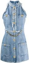 Balmain chain-embellished sleeveless denim dress