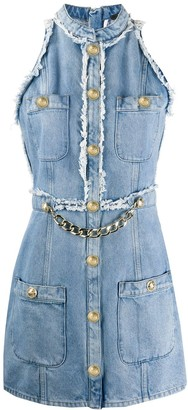 Balmain Chain-Embellished Sleeveless Denim Dress