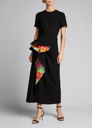 Prabal Gurung Floral-Printed Cascade Midi Shirt Dress