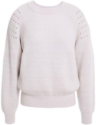 Nina Ricci Pointelle-trimmed Wool And Cotton-blend Sweater