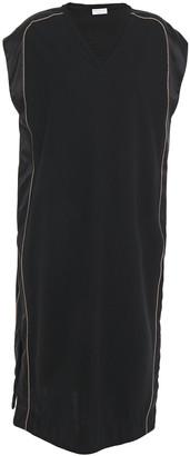 Brunello Cucinelli Satin-trimmed Bead-embellished Stretch Cotton-jersey Dress