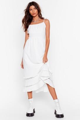 Nasty Gal Womens Lace Talk Ruffle Midi Dress - White - 4, White
