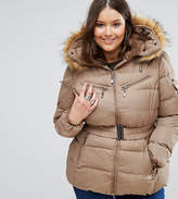 Koko Plus Padded Coat With Faux Fur Collar