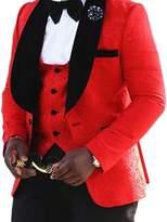 AugusWu One Button Jacquard Weave Mens Slim Fit Tuxedos Suits 2 Piece Sets XXL