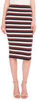Victoria Beckham Striped Stretch-Knit Pencil Skirt, White/Navy/Bordeaux