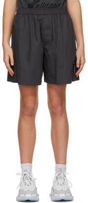 we11done Grey Logo Patch Shorts