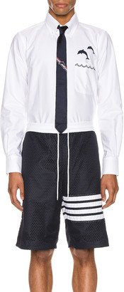Thom Browne Straight Fit Button Down Long Sleeve Shirt in White | FWRD