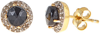 Forever Creations Usa Inc. Forever Creations 18K Over Silver 1.30 Ct. Tw. Champagne Diamond & Black Onyx Studs