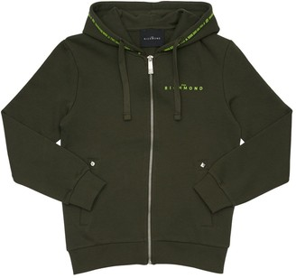 John Richmond Logo Zip-up Cotton Sweatshirt Hoodie