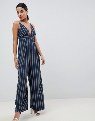 Asos Design DESIGN Stripe Jumpsuit with Cross Over Strap Detail-Multi