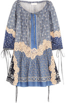 Chloé Printed Lace-appliquéd Cotton And Silk-blend Voile Mini Dress - Blue