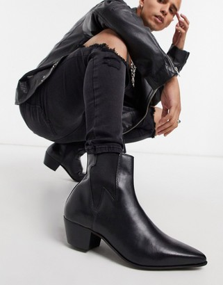 Asos Design DESIGN stacked heel western chelsea boots in black leather with lightning detail