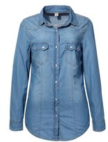 Jusian Women's Denim Chambray Blouse Long Sleeve Denim Button Down Shirt