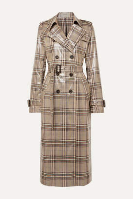 Munthe MUNTHE - Handsome Checked Vinyl Trench Coat - Taupe