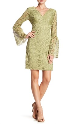Betsey Johnson Lace V-Neck Bell Sleeve Dress