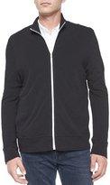 James Perse Full-Zip Slub Knit Jacket, Black