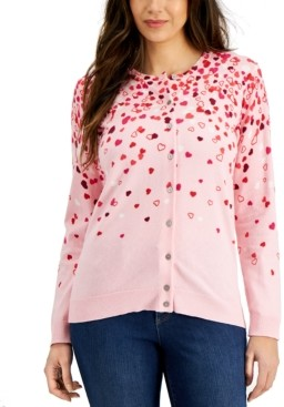 Karen Scott Heart-Print Cardigan, Created for Macy's