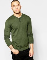 Asos Cotton Jumper With Henley Neck In Khaki