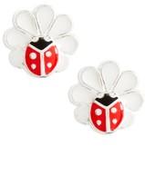 Girl's Tomas Ladybug Flower Sterling Silver Earrings