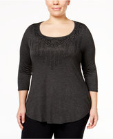 Belldini Plus Size Embellished Scoop-Neck Top