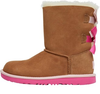 UGG Girls Bailey Bow II Boots Chestnut/Pink Azalea