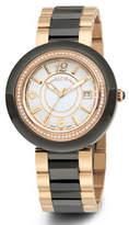 Alor Cavo 43mm Diamond Watch w/ Ceramic Bracelet Strap, Black/Rose