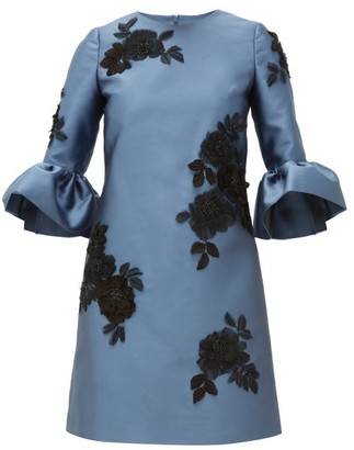 Erdem Elijah Floral-applique Mikado-satin Mini Dress - Womens - Blue